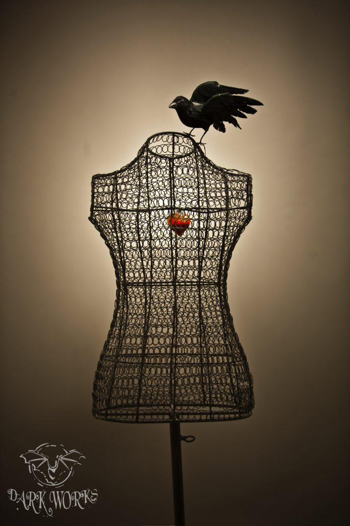 Glass Heart Crow Bust Photograph