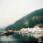 35mm - 120mm - BC _ horseshoe bay - ferry terminal - ferries - boats - mountains - fog - Bowen Island