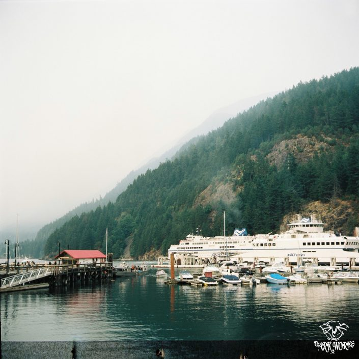 35mm - 120mm - BC _ horseshoe bay - ferry terminal - ferries - boats - mountains - fog - Bowen Island