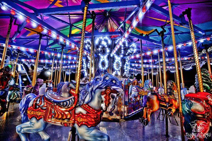 artwork - merry go round - pony - fair - ride - lights- chilliwack - fraser valley - photograph